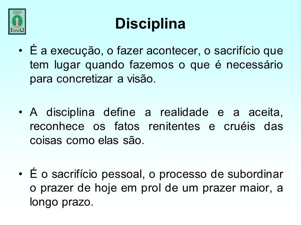 Disciplina É a execução, o fazer acontecer, o sacrifício que tem lugar quando fazemos o que é necessário para concretizar a visão. A disciplina define