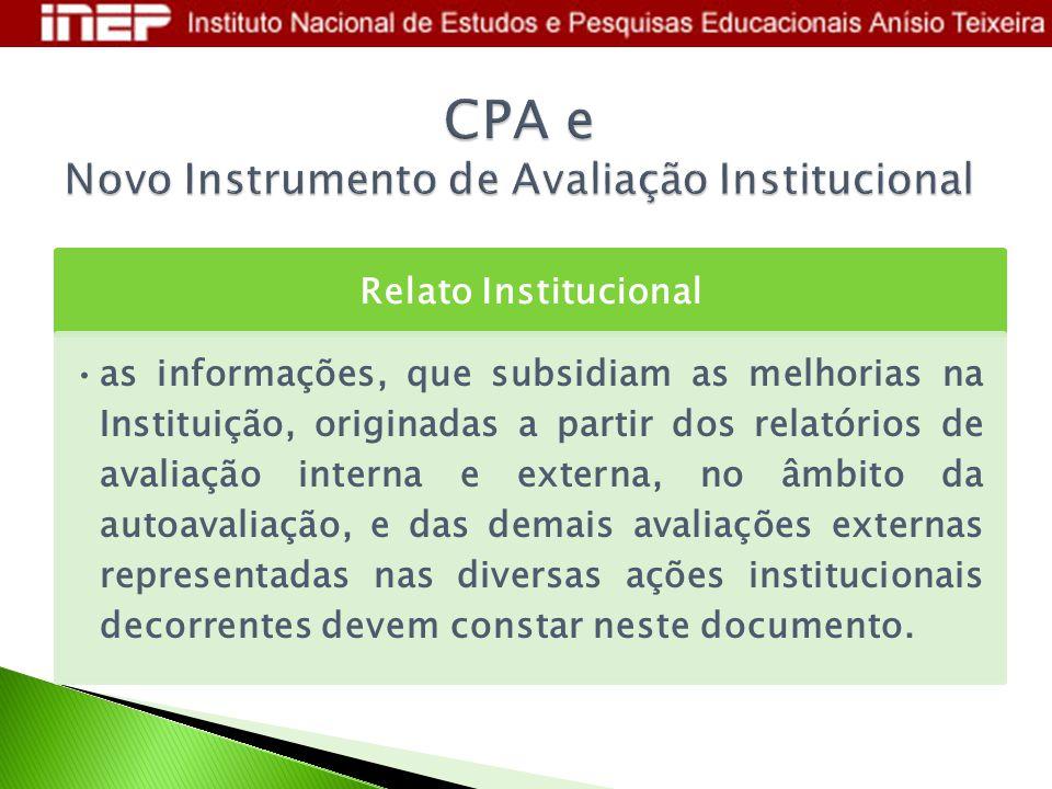 Relato Institucional as informações, que subsidiam as melhorias na Instituição, originadas a partir dos relatórios de avaliação interna e externa, no