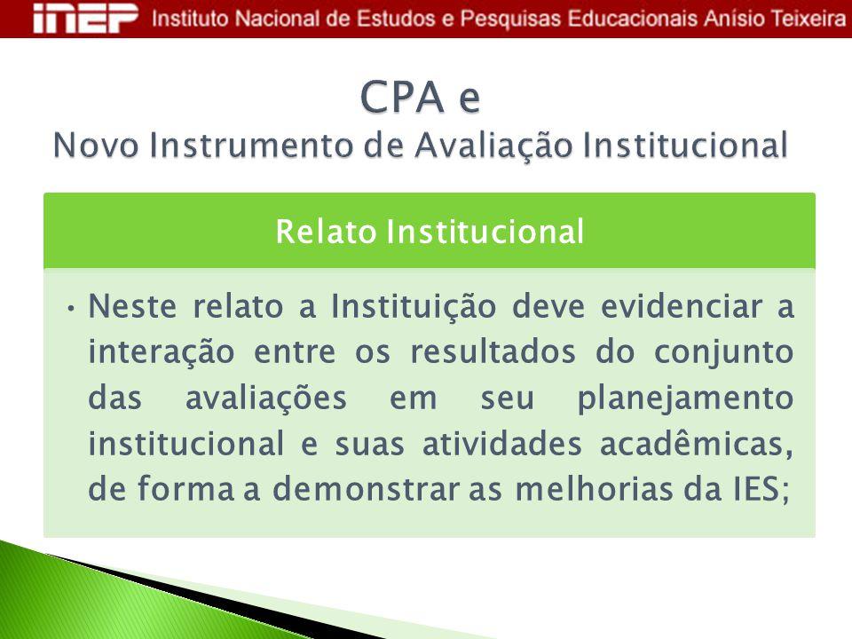 Relato Institucional Neste relato a Instituição deve evidenciar a interação entre os resultados do conjunto das avaliações em seu planejamento institu