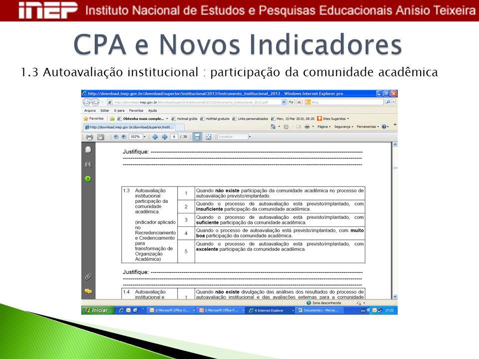 1.3 Autoavaliação institucional : participação da comunidade acadêmica