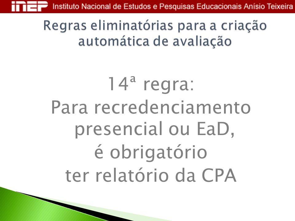 14ª regra: Para recredenciamento presencial ou EaD, é obrigatório ter relatório da CPA