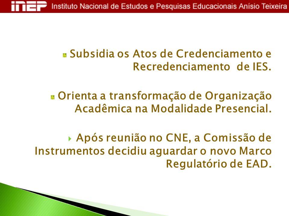 Subsidia os Atos de Credenciamento e Recredenciamento de IES. Orienta a transformação de Organização Acadêmica na Modalidade Presencial.  Após reuniã