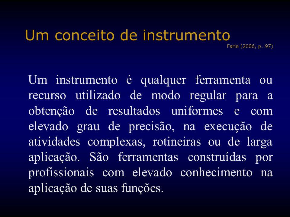 Um conceito de instrumento Faria (2006, p. 97) Um instrumento é qualquer ferramenta ou recurso utilizado de modo regular para a obtenção de resultados