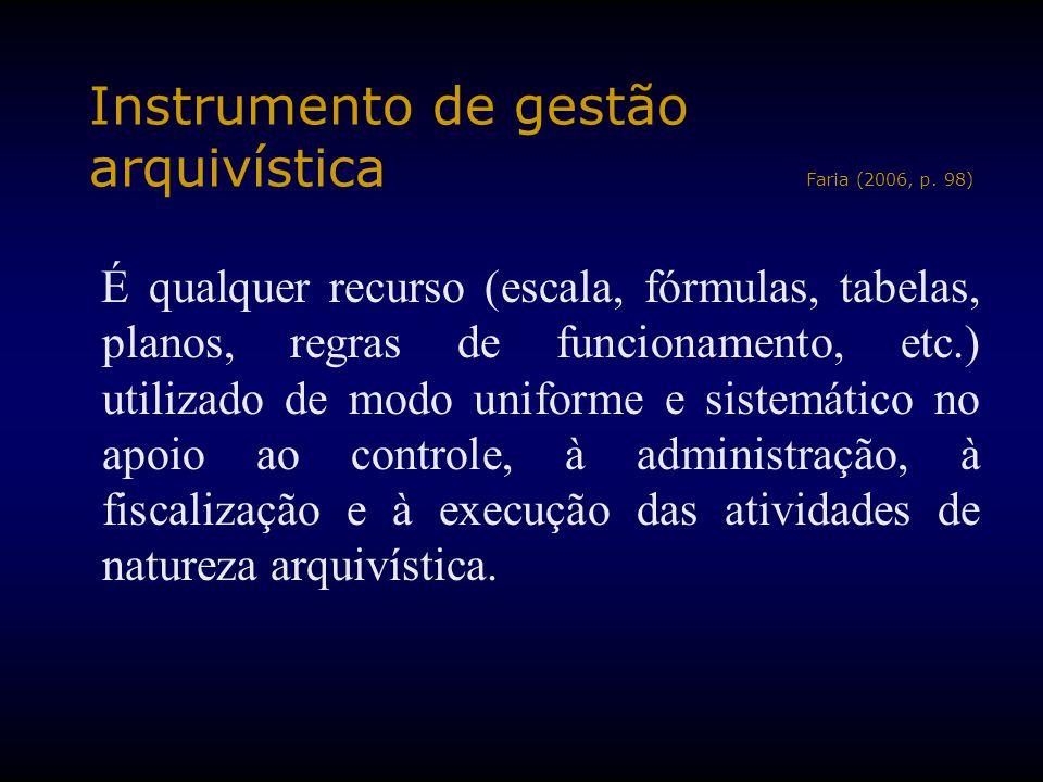 Instrumento de gestão arquivística Faria (2006, p. 98) É qualquer recurso (escala, fórmulas, tabelas, planos, regras de funcionamento, etc.) utilizado