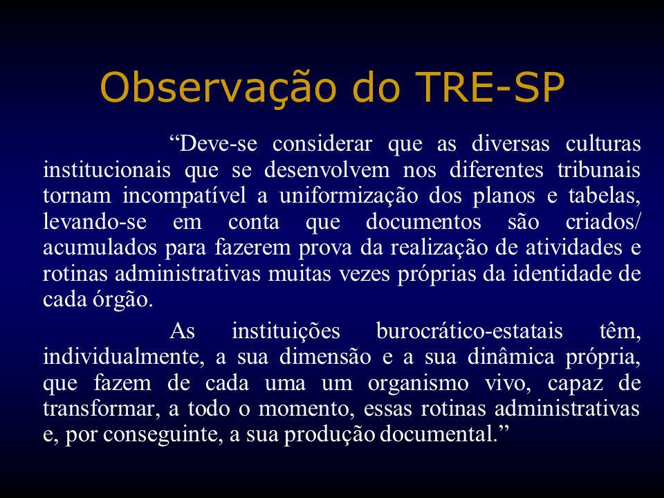 """Observação do TRE-SP """"Deve-se considerar que as diversas culturas institucionais que se desenvolvem nos diferentes tribunais tornam incompatível a uni"""