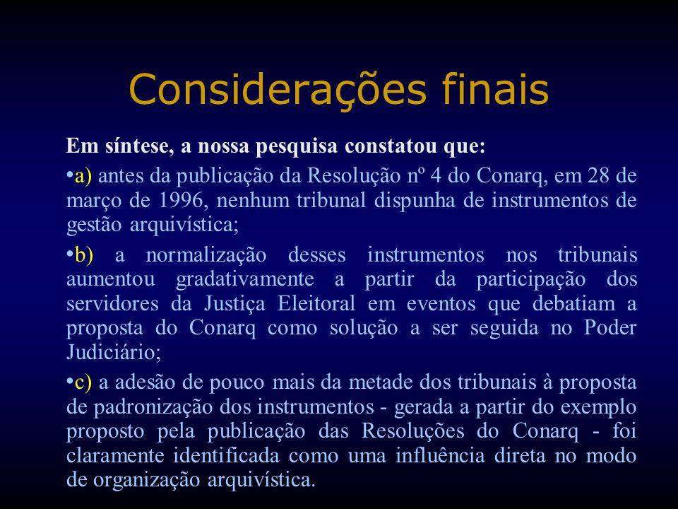 Em síntese, a nossa pesquisa constatou que: a) antes da publicação da Resolução nº 4 do Conarq, em 28 de março de 1996, nenhum tribunal dispunha de in