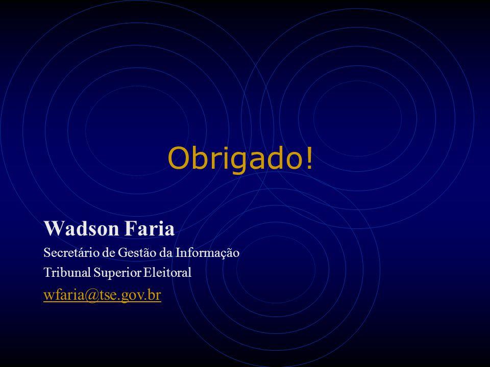 Obrigado! Wadson Faria Secretário de Gestão da Informação Tribunal Superior Eleitoral wfaria@tse.gov.br