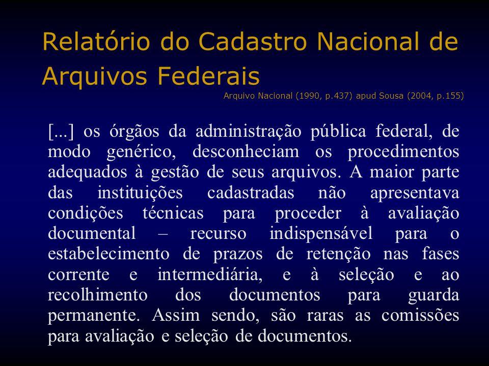 Relatório do Cadastro Nacional de Arquivos Federais Arquivo Nacional (1990, p.437) apud Sousa (2004, p.155) [...] os órgãos da administração pública f