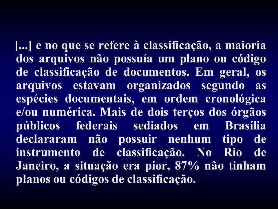 [...] e no que se refere à classificação, a maioria dos arquivos não possuía um plano ou código de classificação de documentos. Em geral, os arquivos