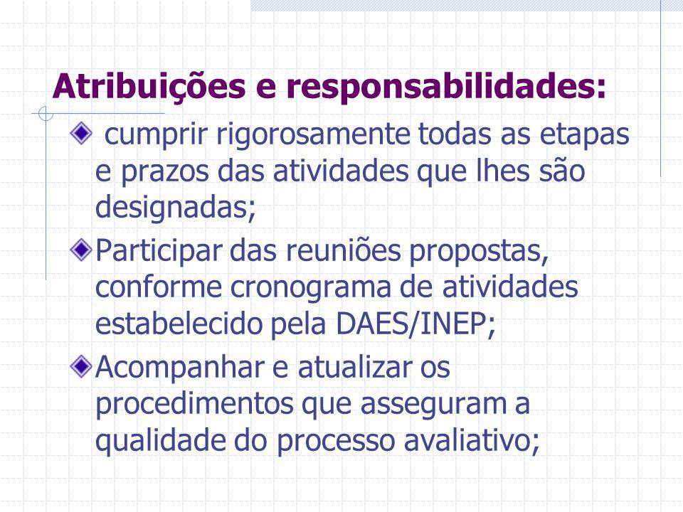 Atribuições e responsabilidades: Atuar com pontualidade, assiduidade, urbanidade, probidade, idoneidade, comprometimento, seriedade, responsabilidade
