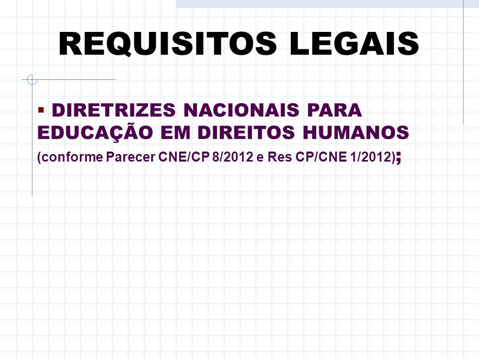 REQUISITOS LEGAIS  NORMAS PARA CREDENCIAMENTO E RECREDENCIAMENTO DE UNIVERSIDADES (Res. CNE/CES 3/2010) ;  DCN's EDUCAÇÃO DAS RELAÇÕES ÉTNICO-RACIAI