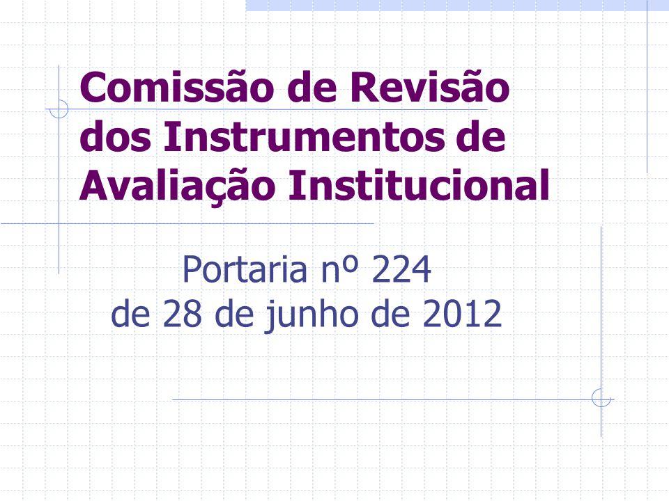 Comissão de Revisão dos Instrumentos de Avaliação Institucional Portaria nº 224 de 28 de junho de 2012