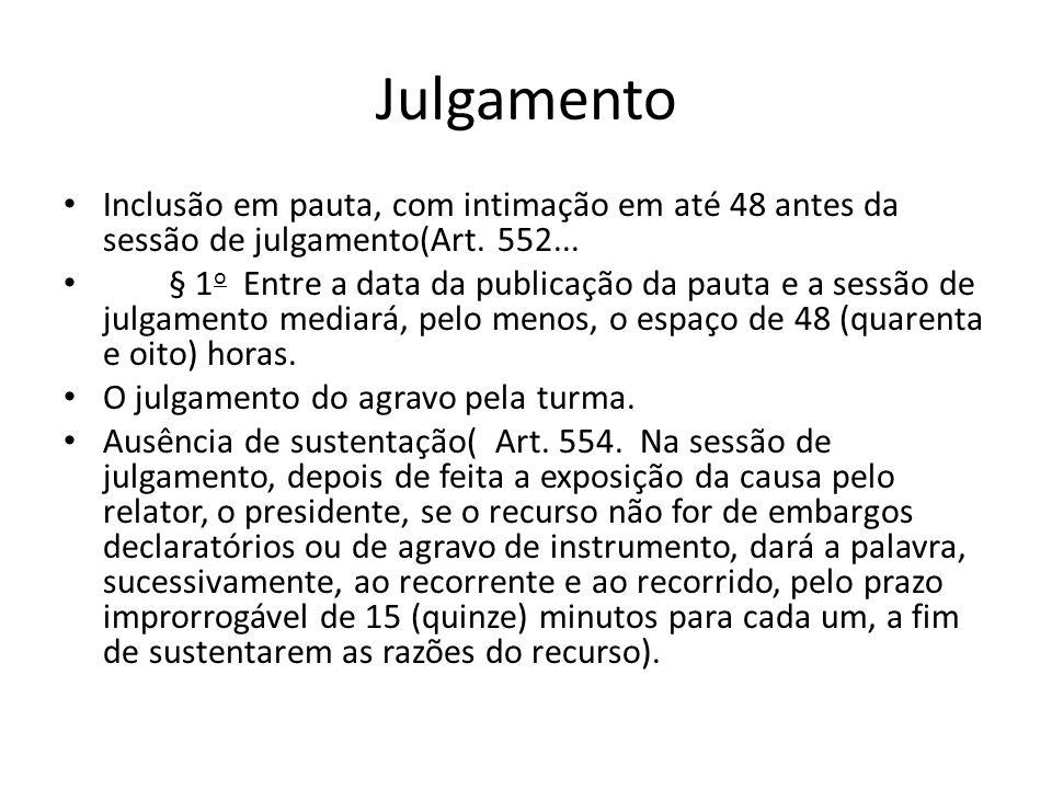 Julgamento Inclusão em pauta, com intimação em até 48 antes da sessão de julgamento(Art. 552... § 1 o Entre a data da publicação da pauta e a sessão d