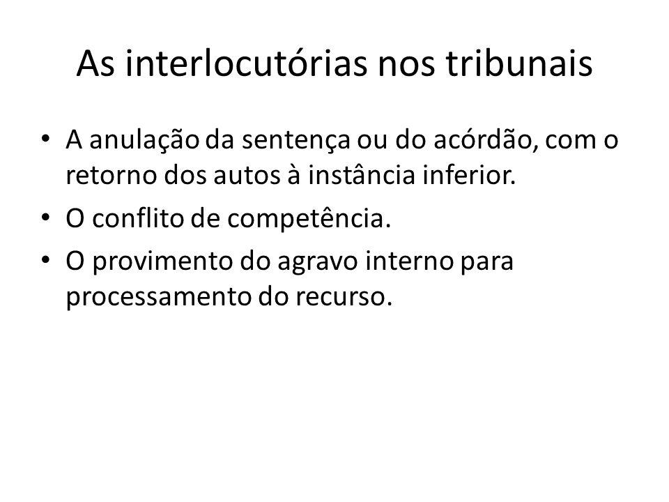 As interlocutórias nos tribunais A anulação da sentença ou do acórdão, com o retorno dos autos à instância inferior. O conflito de competência. O prov