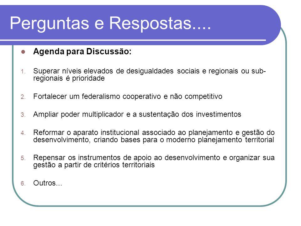 Perguntas e Respostas....Agenda para Discussão: 1.