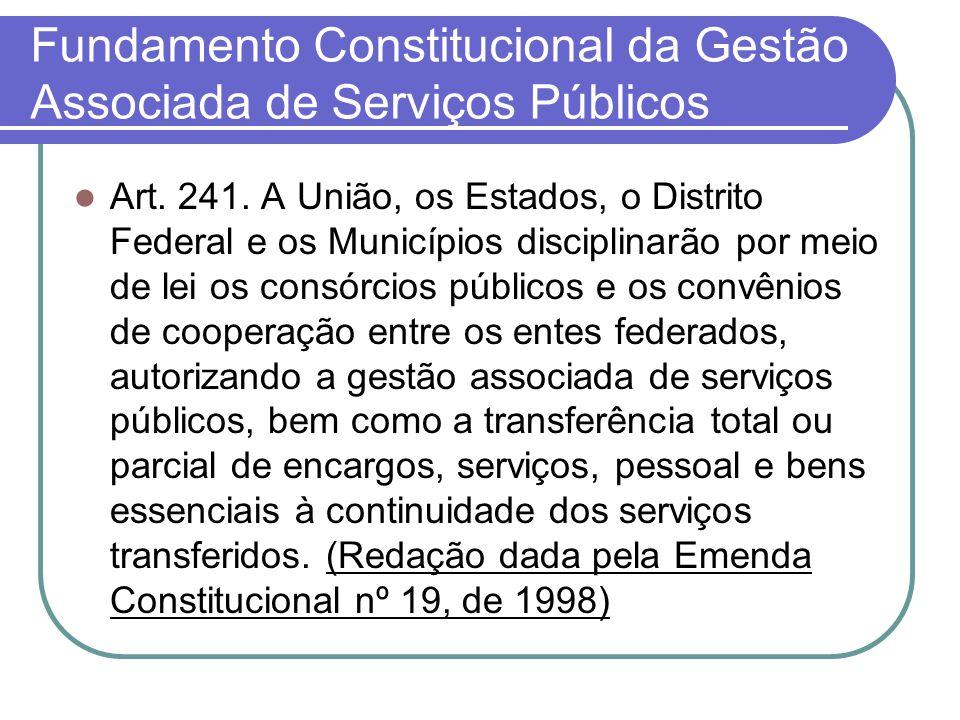 Fundamento Constitucional da Gestão Associada de Serviços Públicos Art.