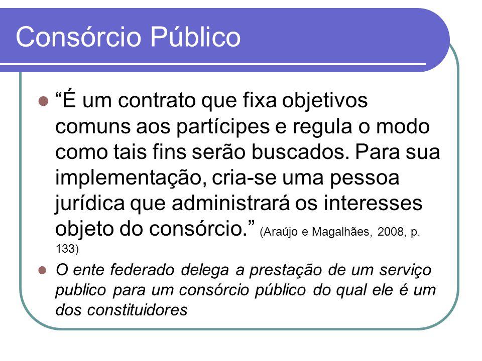 Consórcio Público É um contrato que fixa objetivos comuns aos partícipes e regula o modo como tais fins serão buscados.