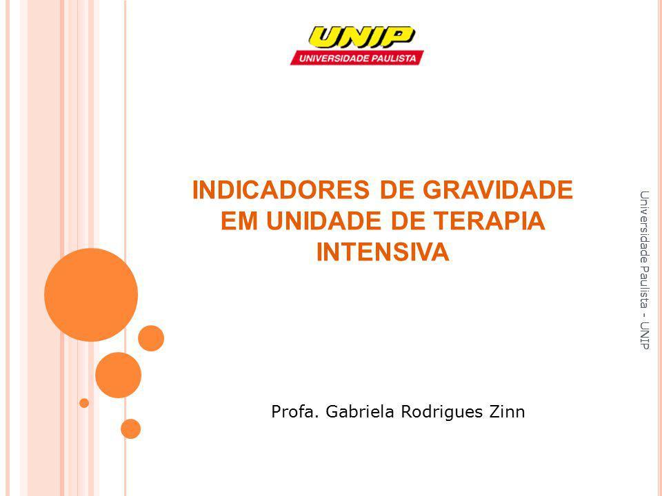 Universidade Paulista - UNIP Profa. Gabriela Rodrigues Zinn INDICADORES DE GRAVIDADE EM UNIDADE DE TERAPIA INTENSIVA