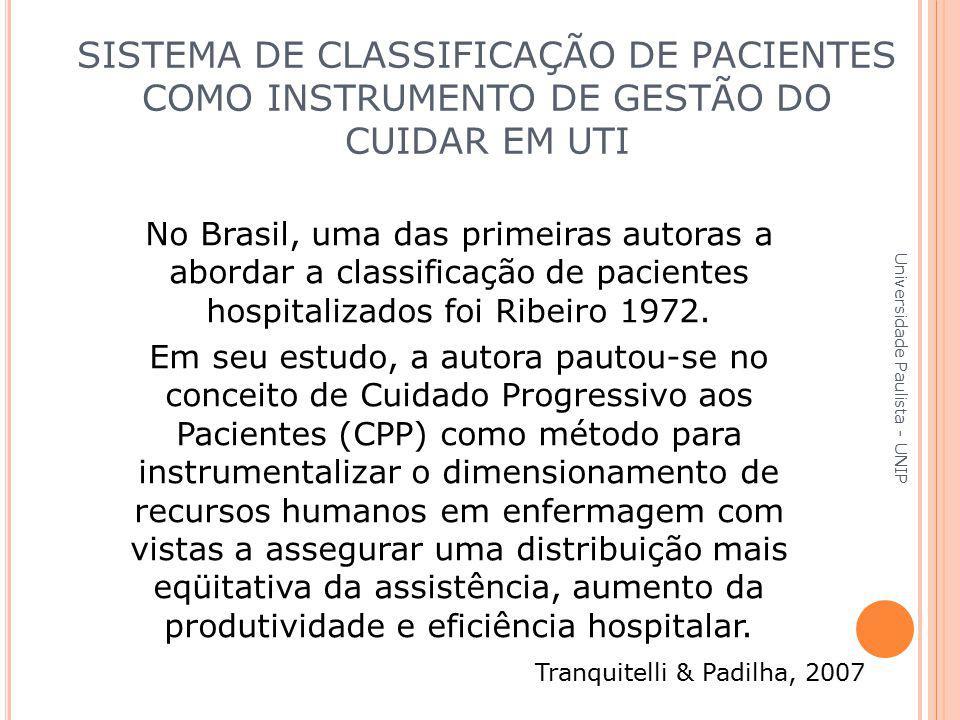 No Brasil, uma das primeiras autoras a abordar a classificação de pacientes hospitalizados foi Ribeiro 1972. Em seu estudo, a autora pautou-se no conc