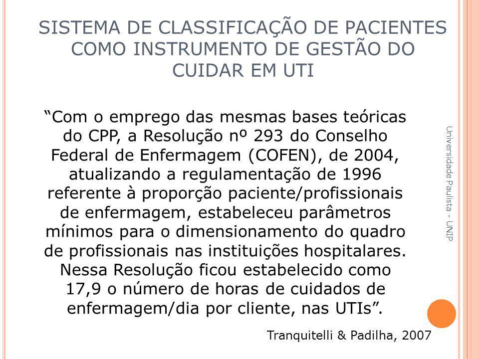 """""""Com o emprego das mesmas bases teóricas do CPP, a Resolução nº 293 do Conselho Federal de Enfermagem (COFEN), de 2004, atualizando a regulamentação d"""