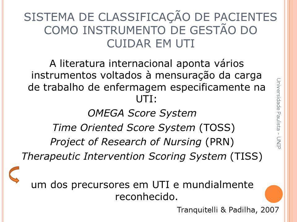 A literatura internacional aponta vários instrumentos voltados à mensuração da carga de trabalho de enfermagem especificamente na UTI: OMEGA Score Sys