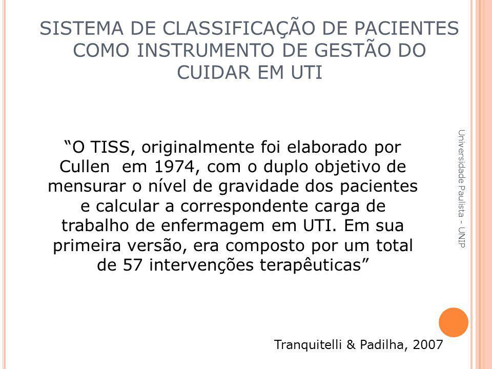"""""""O TISS, originalmente foi elaborado por Cullen em 1974, com o duplo objetivo de mensurar o nível de gravidade dos pacientes e calcular a corresponden"""