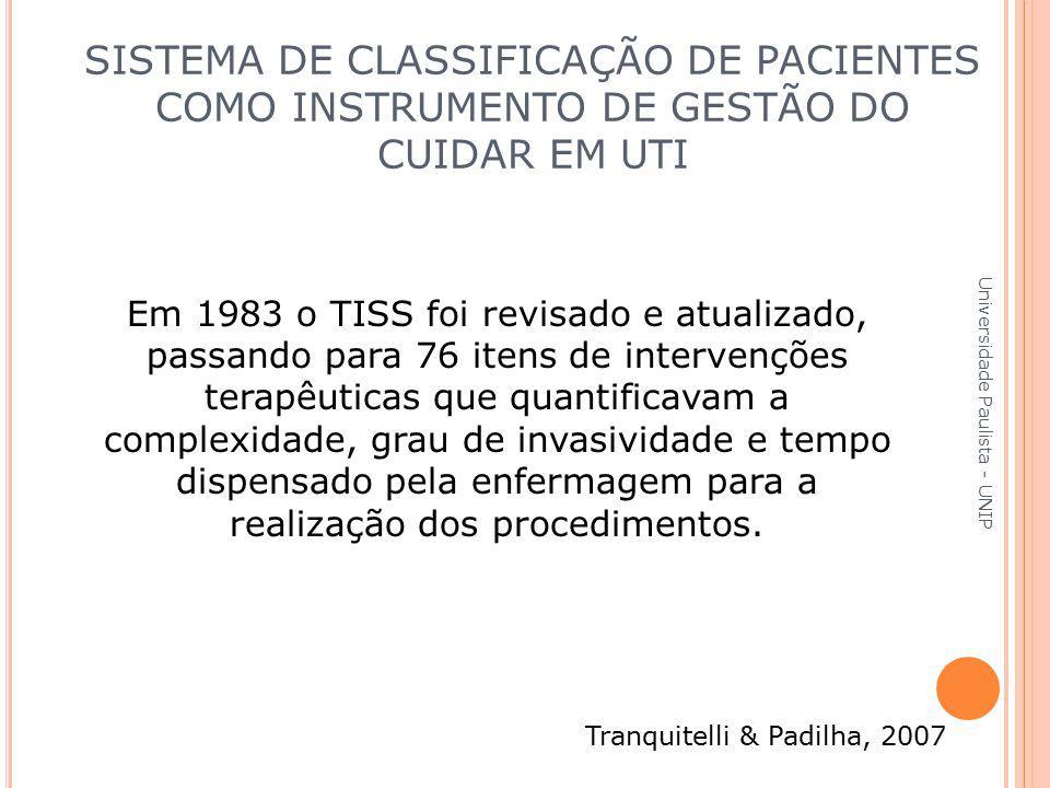 Em 1983 o TISS foi revisado e atualizado, passando para 76 itens de intervenções terapêuticas que quantificavam a complexidade, grau de invasividade e