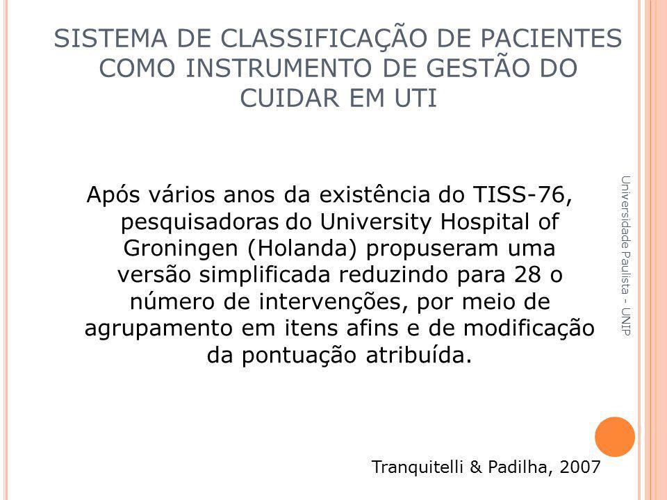 Após vários anos da existência do TISS-76, pesquisadoras do University Hospital of Groningen (Holanda) propuseram uma versão simplificada reduzindo pa
