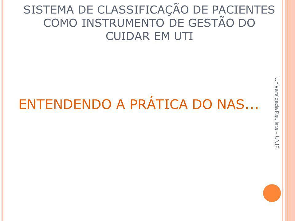 ENTENDENDO A PRÁTICA DO NAS... Universidade Paulista - UNIP SISTEMA DE CLASSIFICAÇÃO DE PACIENTES COMO INSTRUMENTO DE GESTÃO DO CUIDAR EM UTI