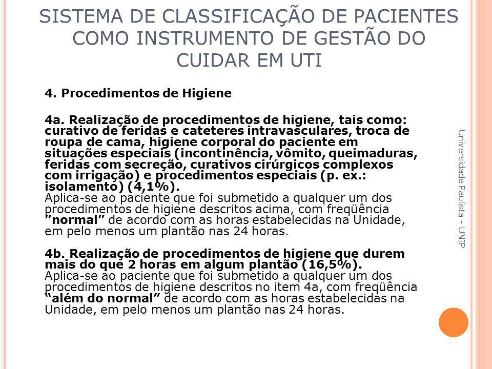 4. Procedimentos de Higiene 4a. Realização de procedimentos de higiene, tais como: curativo de feridas e cateteres intravasculares, troca de roupa de