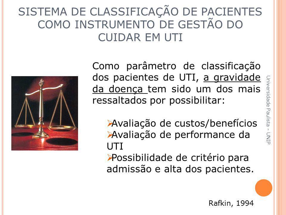 Universidade Paulista - UNIP SISTEMA DE CLASSIFICAÇÃO DE PACIENTES COMO INSTRUMENTO DE GESTÃO DO CUIDAR EM UTI Como parâmetro de classificação dos pac