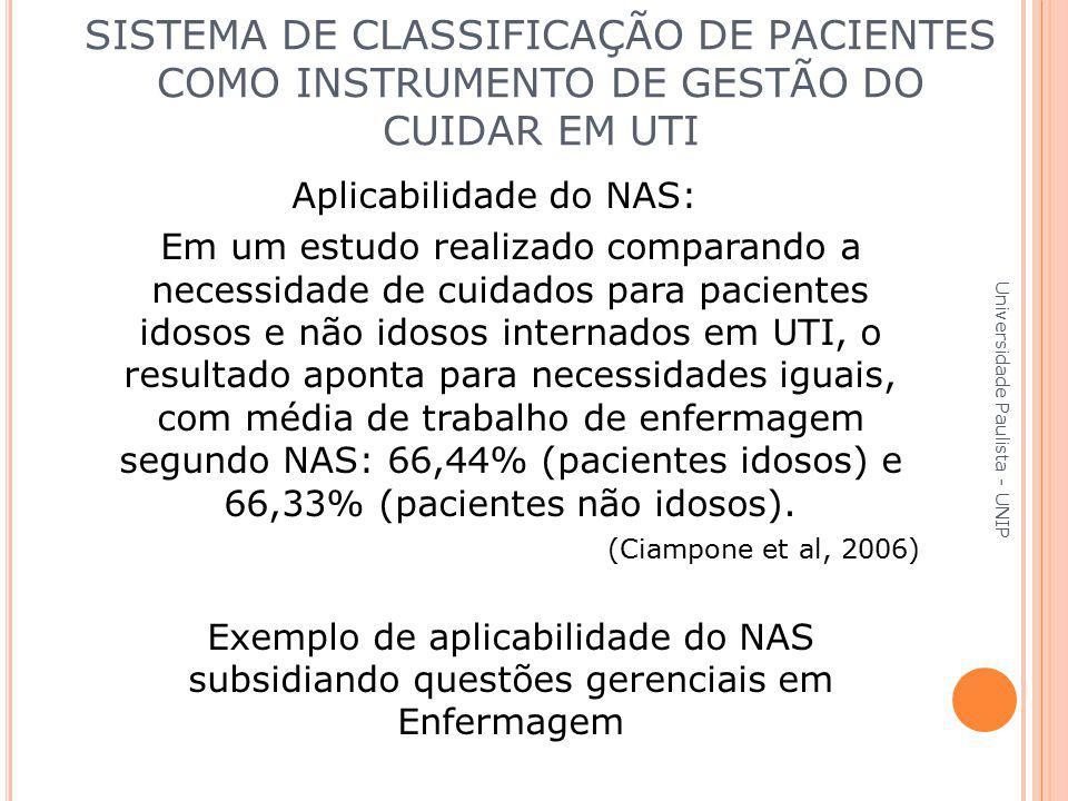 Aplicabilidade do NAS: Em um estudo realizado comparando a necessidade de cuidados para pacientes idosos e não idosos internados em UTI, o resultado a