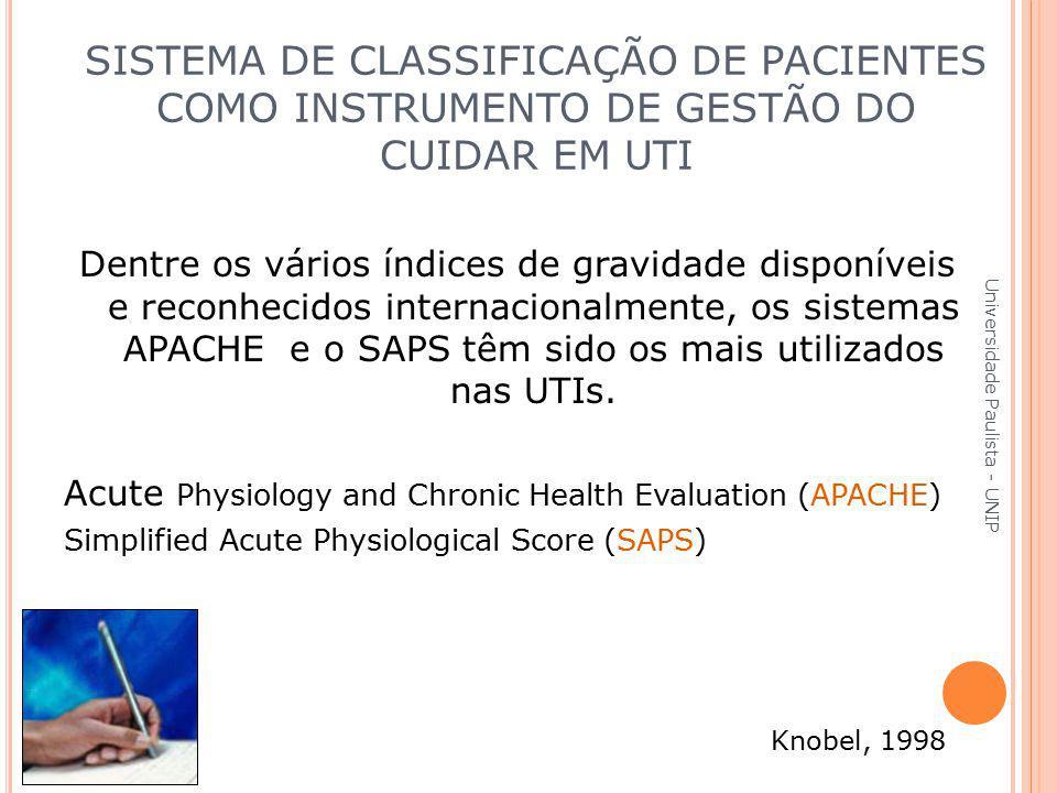 Dentre os vários índices de gravidade disponíveis e reconhecidos internacionalmente, os sistemas APACHE e o SAPS têm sido os mais utilizados nas UTIs.