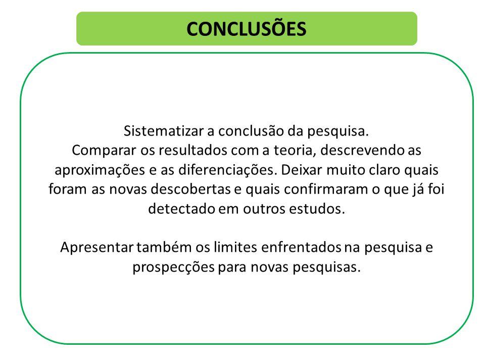 CONCLUSÕES Sistematizar a conclusão da pesquisa.