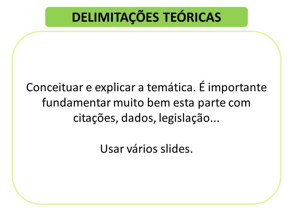 DELIMITAÇÕES TEÓRICAS Conceituar e explicar a temática.