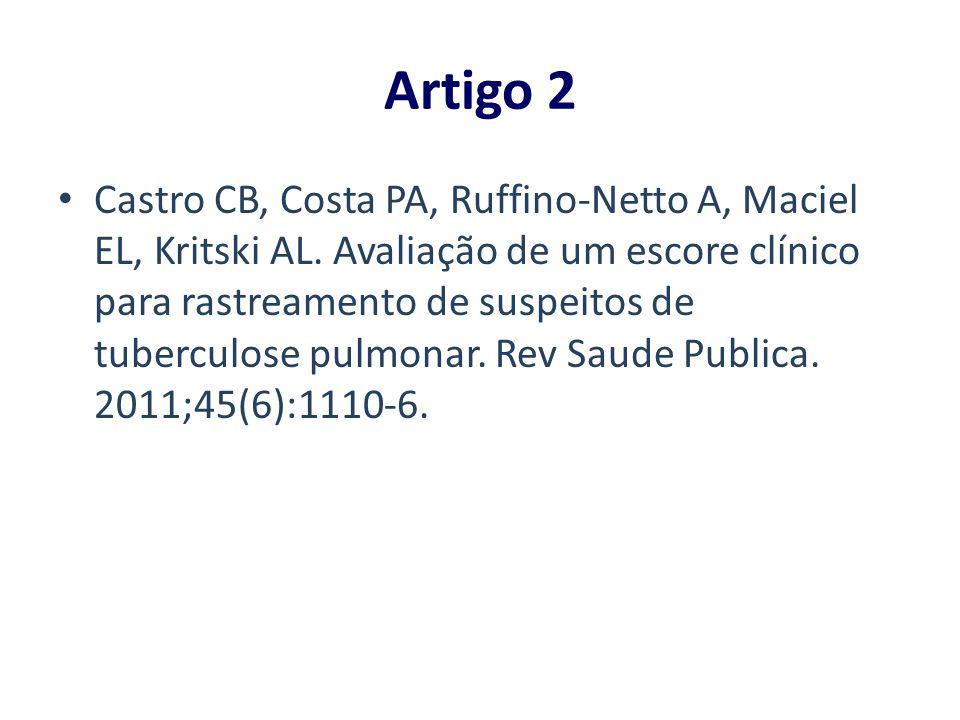 Artigo 2 Castro CB, Costa PA, Ruffino-Netto A, Maciel EL, Kritski AL. Avaliação de um escore clínico para rastreamento de suspeitos de tuberculose pul