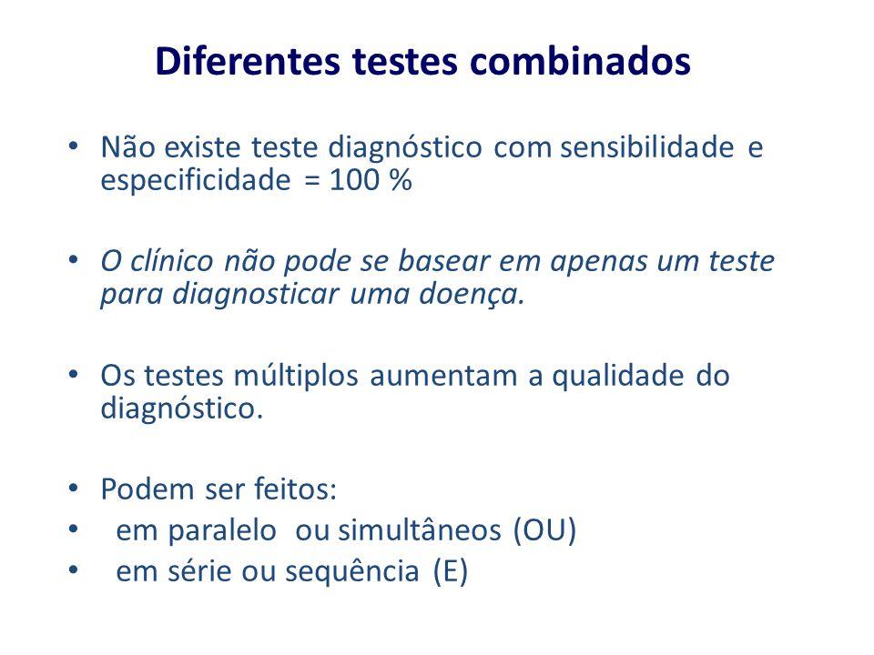 Diferentes testes combinados Não existe teste diagnóstico com sensibilidade e especificidade = 100 % O clínico não pode se basear em apenas um teste p