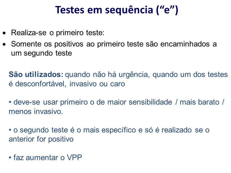 """Testes em sequência (""""e"""") São utilizados: quando não há urgência, quando um dos testes é desconfortável, invasivo ou caro deve-se usar primeiro o de m"""