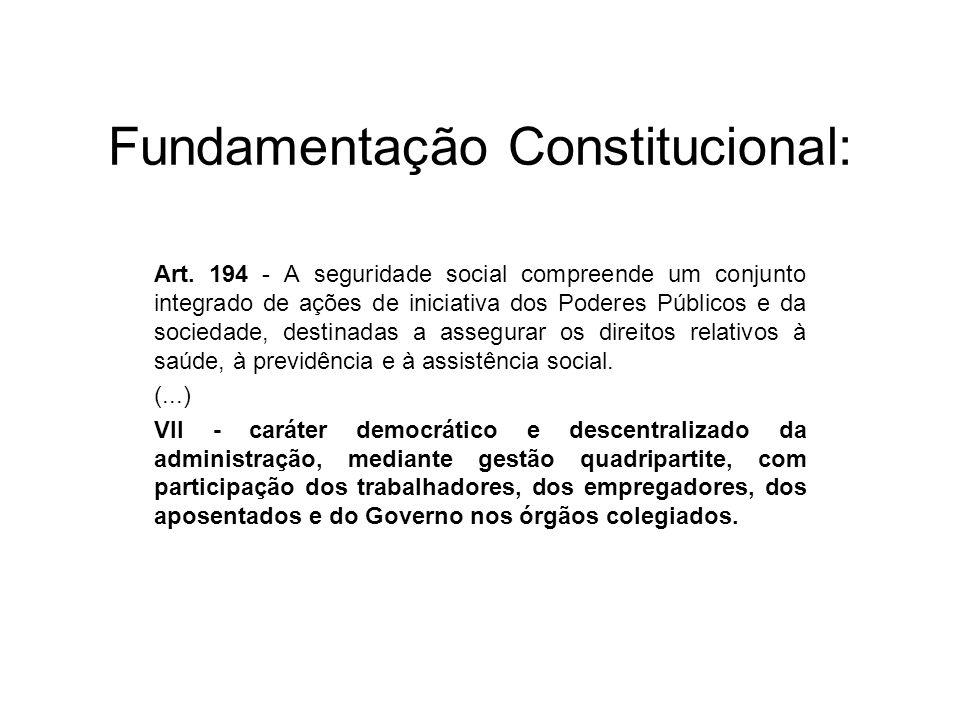 Fundamentação Constitucional: Art. 194 - A seguridade social compreende um conjunto integrado de ações de iniciativa dos Poderes Públicos e da socieda