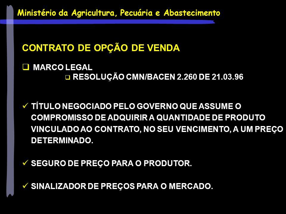 Ministério da Agricultura, Pecuária e Abastecimento CONTRATO DE OPÇÃO DE VENDA  MARCO LEGAL  RESOLUÇÃO CMN/BACEN 2.260 DE 21.03.96 TÍTULO NEGOCIADO