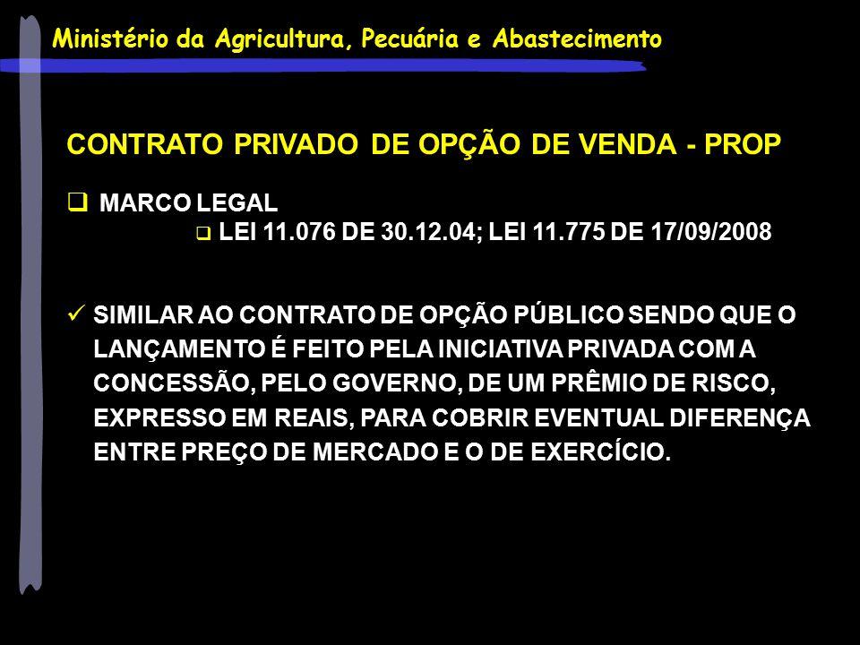 Ministério da Agricultura, Pecuária e Abastecimento CONTRATO PRIVADO DE OPÇÃO DE VENDA - PROP  MARCO LEGAL  LEI 11.076 DE 30.12.04; LEI 11.775 DE 17