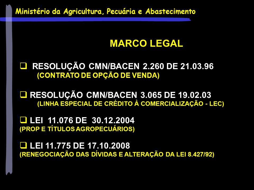 Ministério da Agricultura, Pecuária e Abastecimento MARCO LEGAL  RESOLUÇÃO CMN/BACEN 2.260 DE 21.03.96 (CONTRATO DE OPÇÃO DE VENDA)  RESOLUÇÃO CMN/B