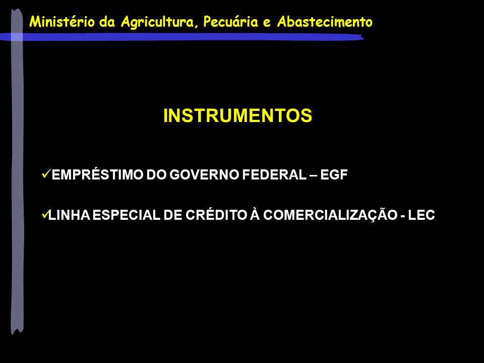 Ministério da Agricultura, Pecuária e Abastecimento INSTRUMENTOS EMPRÉSTIMO DO GOVERNO FEDERAL – EGF LINHA ESPECIAL DE CRÉDITO À COMERCIALIZAÇÃO - LEC