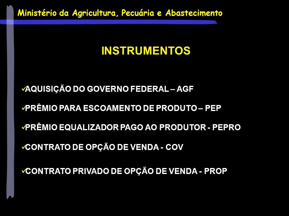 Ministério da Agricultura, Pecuária e Abastecimento INSTRUMENTOS AQUISIÇÃO DO GOVERNO FEDERAL – AGF PRÊMIO PARA ESCOAMENTO DE PRODUTO – PEP PRÊMIO EQU