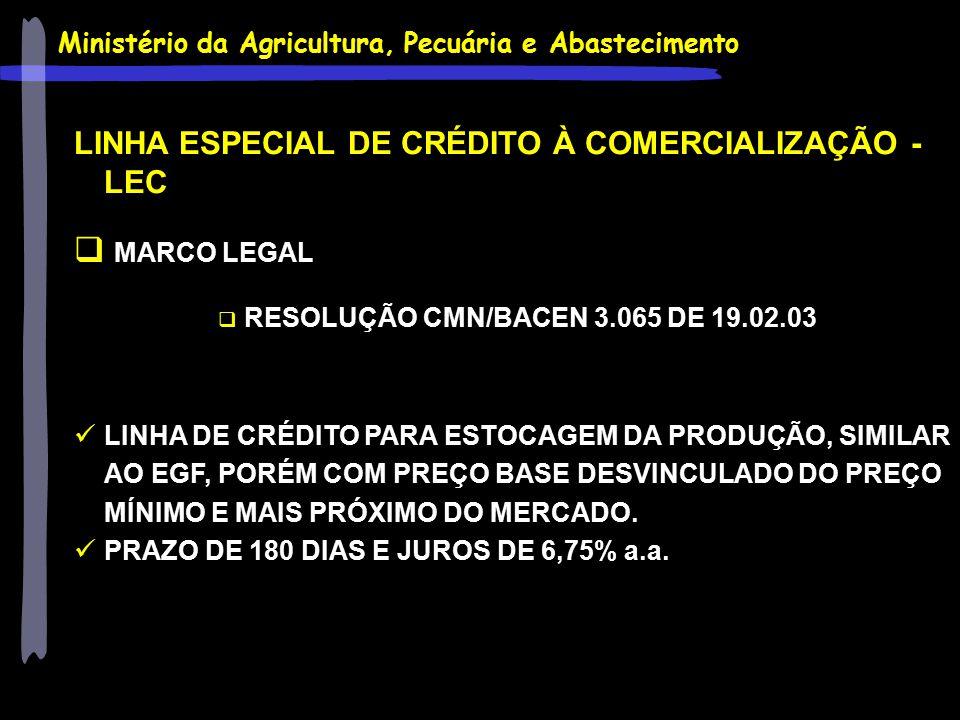 Ministério da Agricultura, Pecuária e Abastecimento LINHA ESPECIAL DE CRÉDITO À COMERCIALIZAÇÃO - LEC  MARCO LEGAL  RESOLUÇÃO CMN/BACEN 3.065 DE 19.