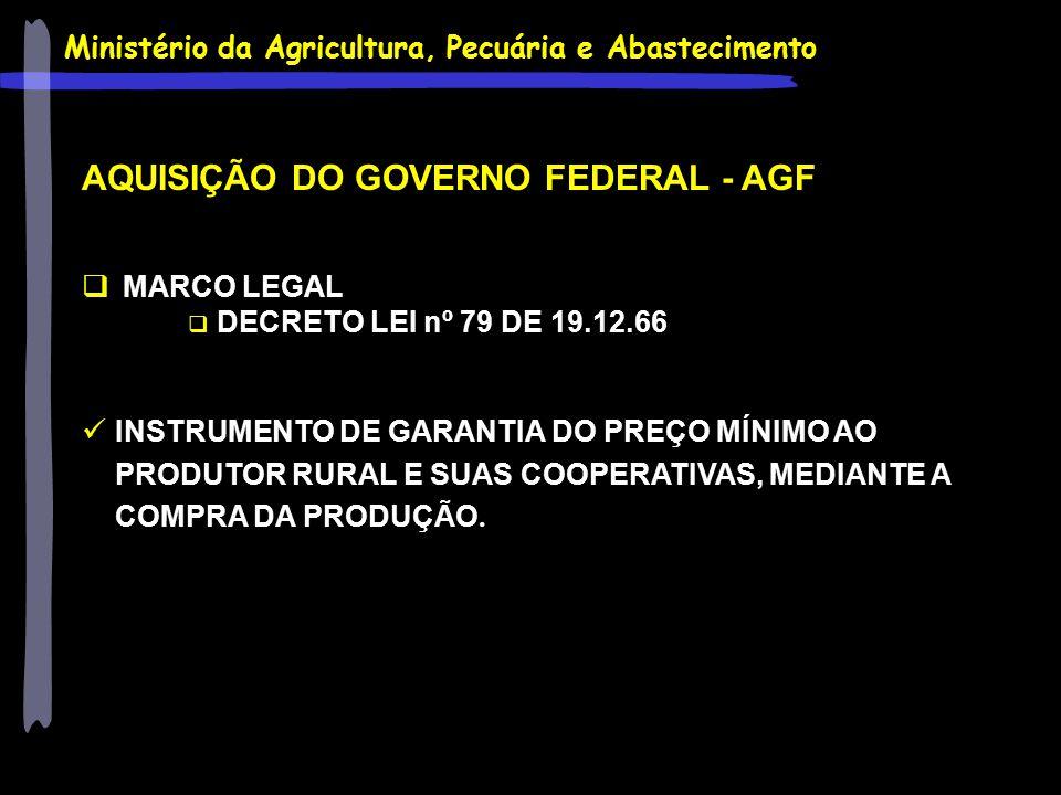 Ministério da Agricultura, Pecuária e Abastecimento AQUISIÇÃO DO GOVERNO FEDERAL - AGF  MARCO LEGAL  DECRETO LEI nº 79 DE 19.12.66 INSTRUMENTO DE GA