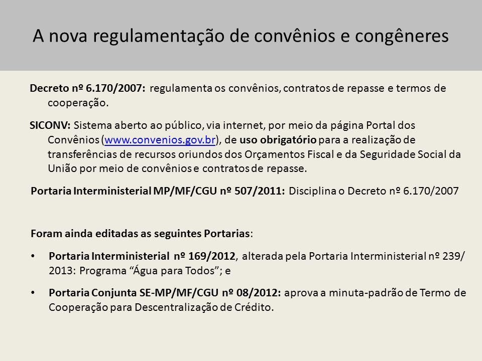 A nova regulamentação de convênios e congêneres Instrumentos: 1.Convênio 2.Contrato de Repasse 3.Termo de Cooperação 4.Contrato de Prestação de Serviços (CPS) 5.Contrato de Administrativo de Execução e Fornecimento (CTEF)