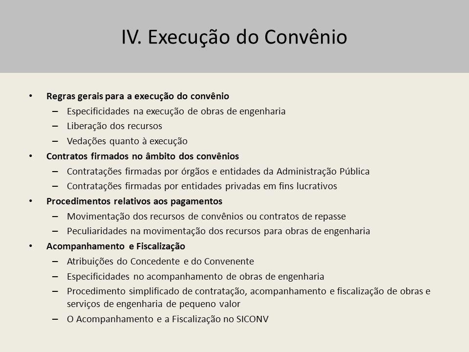 IV. Execução do Convênio Regras gerais para a execução do convênio – Especificidades na execução de obras de engenharia – Liberação dos recursos – Ved