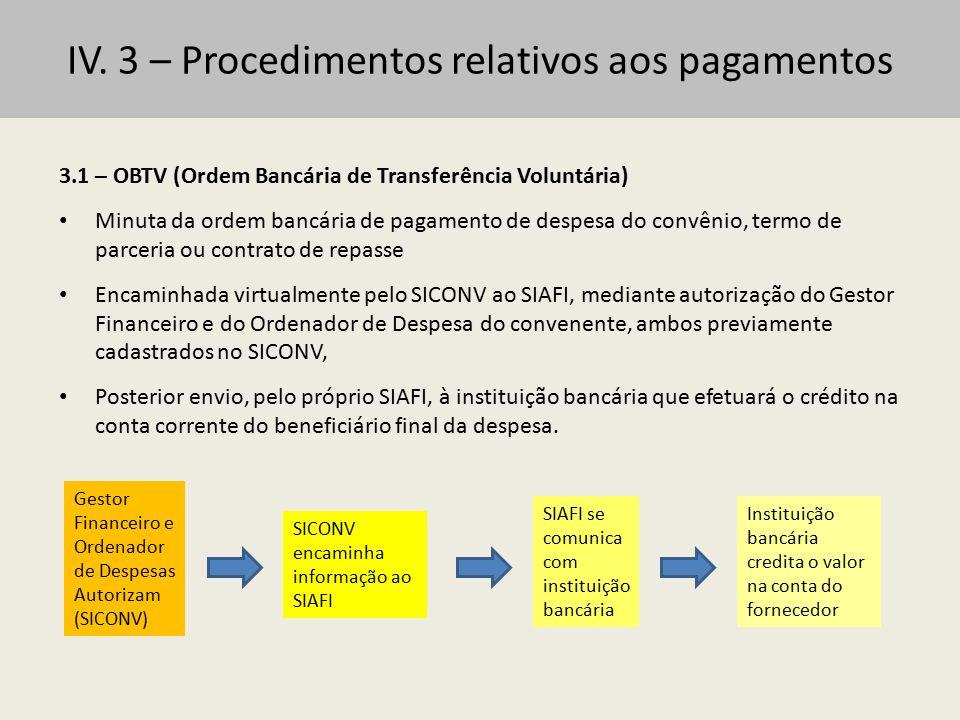 IV. 3 – Procedimentos relativos aos pagamentos 3.1 – OBTV (Ordem Bancária de Transferência Voluntária) Minuta da ordem bancária de pagamento de despes