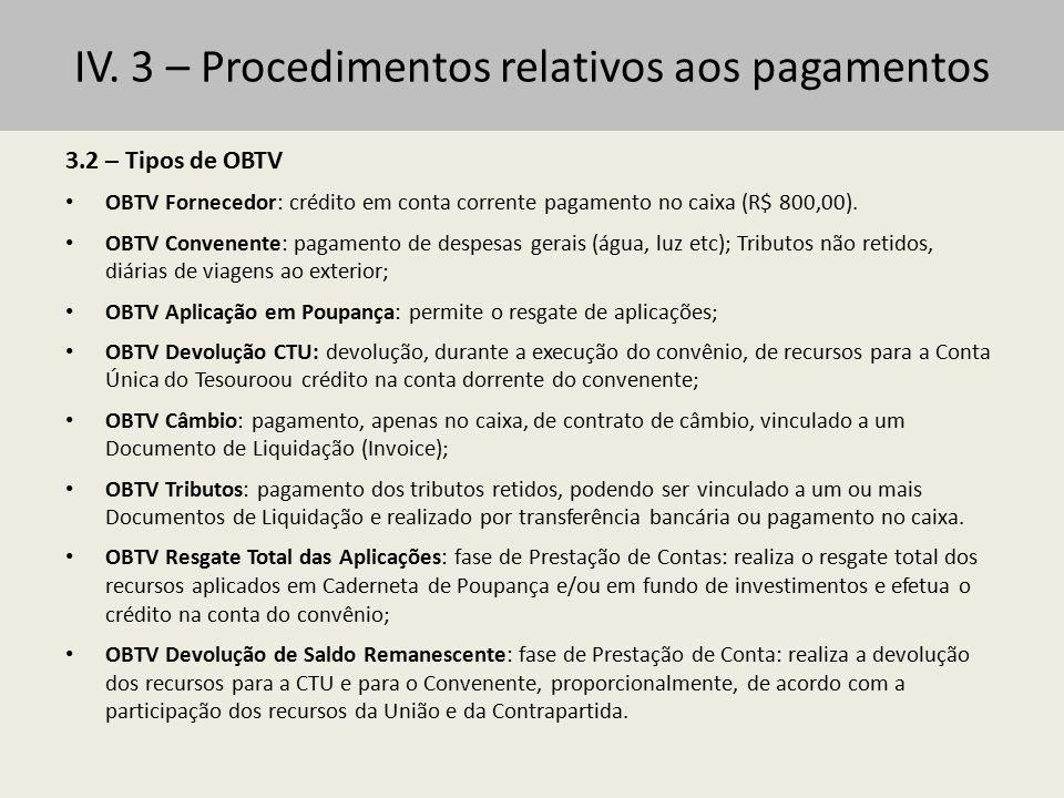 IV. 3 – Procedimentos relativos aos pagamentos 3.2 – Tipos de OBTV OBTV Fornecedor: crédito em conta corrente pagamento no caixa (R$ 800,00). OBTV Con